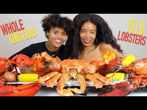 WHOLE KING CRAB MUKBANG  (with 15LB LOBSTERS,  potatoes and corn) - 30LB SEAFOOD BOIL