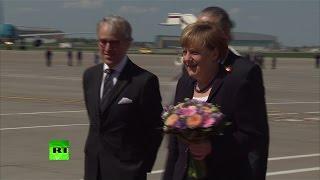 Канцлер Германии Ангела Меркель прибыла в Москву(Ангела Меркель прибыла с официальным визитом Москву, где вместе с президентом России Владимиром Путиным..., 2015-05-10T10:19:09.000Z)