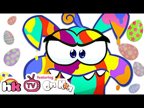 Om Nom Stories: EASTER EGGS COLORING (Cut The Rope) Funny Cartoons For Children