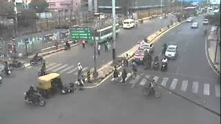 Road Accident - Autorickshaw hits Two Wheeler by Bangalore Traffic Police