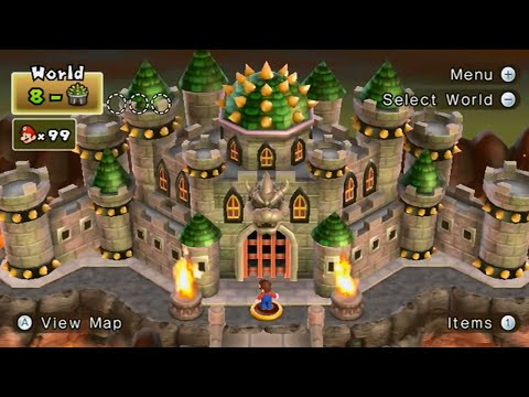 New Super Mario Bros. Wii 100% Walkthrough Finale - 8-Castle Final Boss (Bowser) / Ending & Credits