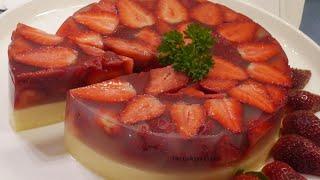 Strawberry Panna Cotta Jelly Cake (Using Agar Agar)