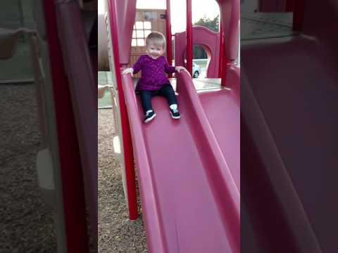Charlotte Falls off slide