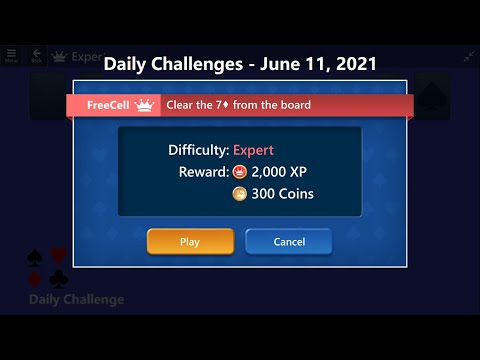 Microsoft Solitaire Collection   FreeCell - Expert   June 11, 2021   Daily Challenges