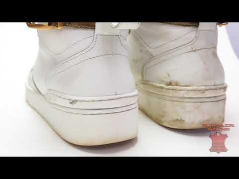 Реставрация кожи кроссовок химчистка и отбеливание подошвы