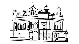 Golden Temple drawing and colore for kid, Baby Learning Colors for Children