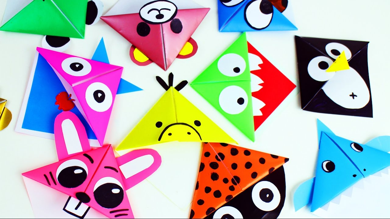 Back To School Origami Paper Corner Bookmarks