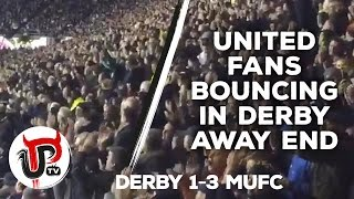 man united fans bouncing in derby away end   derby 1 3 mufc