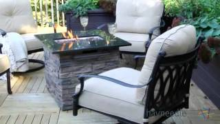 Palazetto Milan Cast Aluminum Red Ember Fire Pit Chat Set - Seats - Product Review Video
