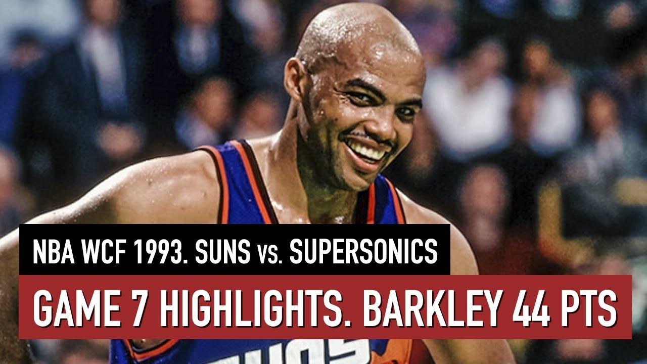 Throwback NBA WCF 1993. Phoenix Suns vs Seattle SuperSonics Game 7 Highlights HD. Barkley 44 pts