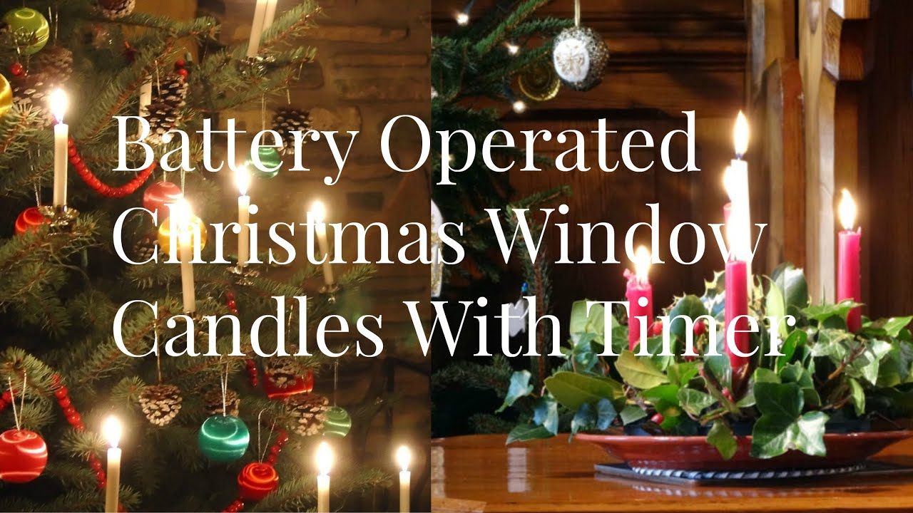 battery operated christmas window candles with timer youtube - Battery Powered Christmas Decorations