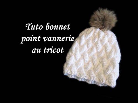 ad00a3577937 Les tutos de Fadinou  TUTO BONNET POINT DE VANNERIE AU TRICOT FACILE