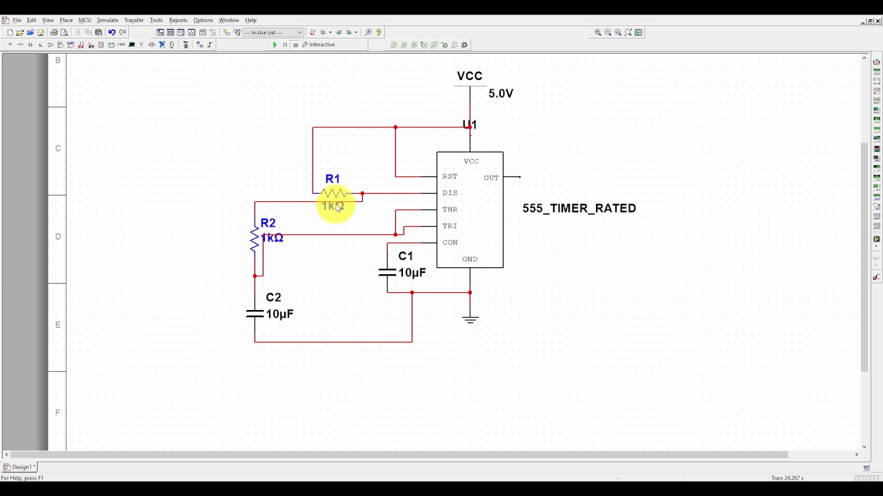 Multisim Tutorial 4 555 Timer Astable Mode Simulation Youtube The Circuit