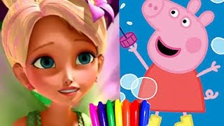 Disney Princess Barbie Thumbelina Vs. Peppapig in Christmas tree Coloring Book Pages