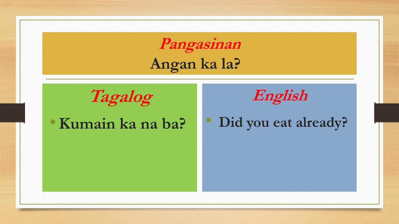 Pangasinan Tagalog English Translation R E A L Educational Resources Youtube