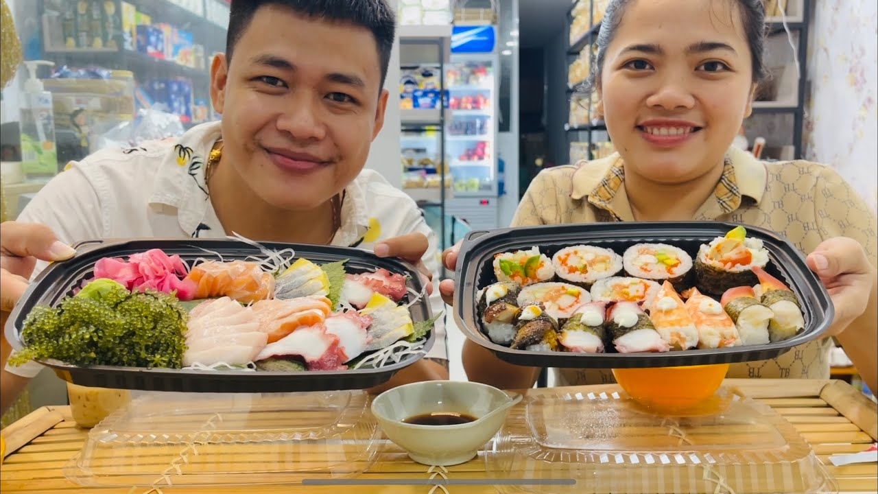 Cuối ngày làm việc cùng vợ ăn sushi và vài món cá sống chấm wasabi siêu ngon