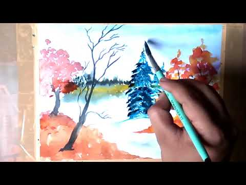 Snowy abstract art | Landscape tutorial | Art Gallery ||