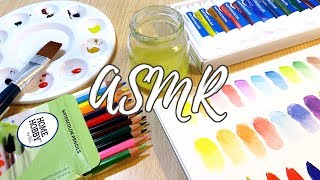 ASMR Unboxing & Swatching Watercolor Tubes, Pencils & Pastels || No Talking