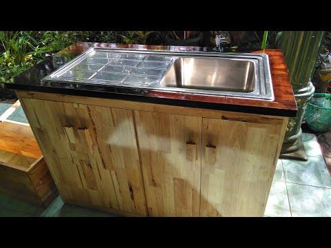 Cara Buat Kitchen Set Wastafel Tempat Cuci Piring Dari Kayu