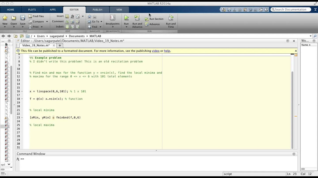 MATLAB Video 19: finding local minima and maxima using fminbnd function