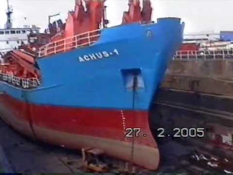 "Ex British Dredger  MV""ACHUS-1"" in Hull Drydock being fitted out for Bahrain 2005"