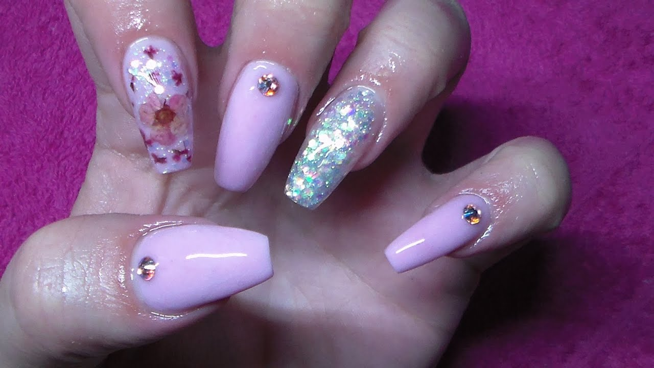 Pink Acrylic Nails | Encapsulated Flower Nail Art - YouTube