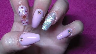 Pink Acrylic Nails | Encapsulated Flower Nail Art