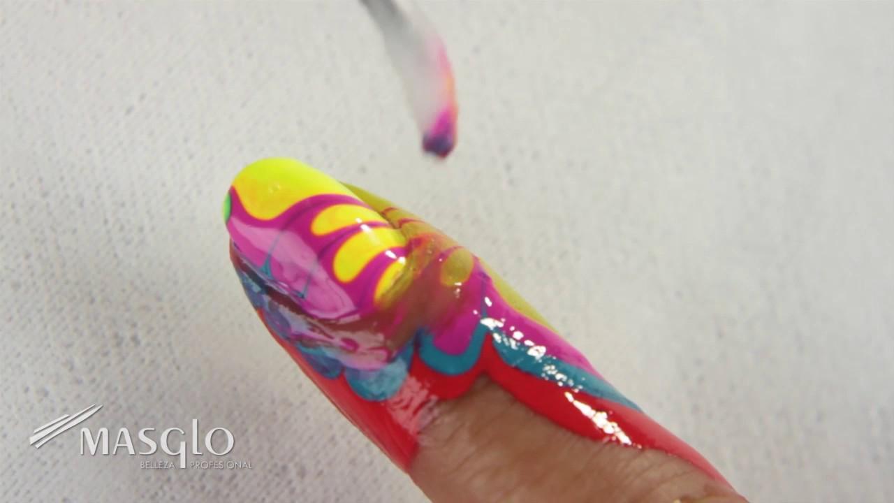 Decoración de uñas Masglo - Técnica Marbleizer // uñas al agua ...