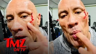 The Rock Tastes His Own Blood After Gym Injury, Gets Stitches to Close Gash | TMZ TV