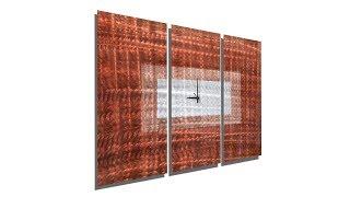Copper Sequence   Contemporary Metal 3 Panel Wall Art Clock By Jon Allen