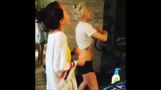 "Miley Cyrus and Noah Cyrus dancing ""Could you be loved"" and ""Higher Ground"" 2014"