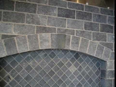 tumbled marble subway tile stove backsplash