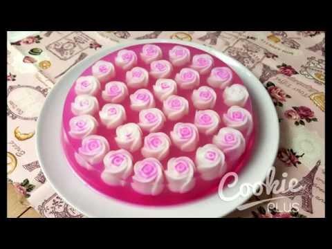 เทคนิคการทำ เค้กวุ้นดอกกุหลาบ : How to make rose jelly cake