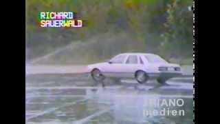 Opel Senator A1 im Schleuderdrift bei Nässe auf Teststrecke 15.  Oktober 1987