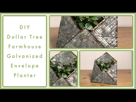 DIY Dollar Tree Galvanized Envelope Planter Decor - Dollar Tree Farmhouse Rustic Room Decor