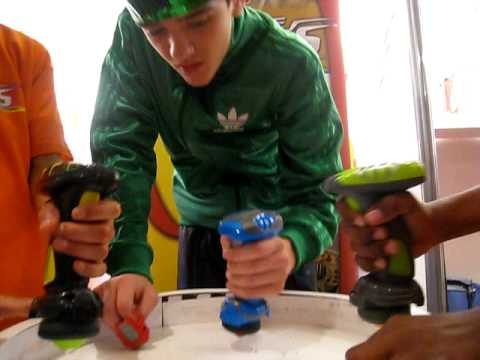 GEORGE SAMPSON WITH THE AWESOME BATTLE STRIKERS AT DREAM TOYS
