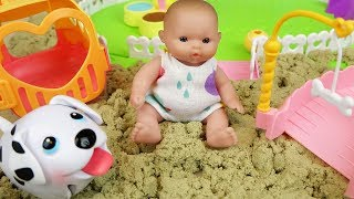 Sand and baby doll slide toys, puppy and surprise eggs play