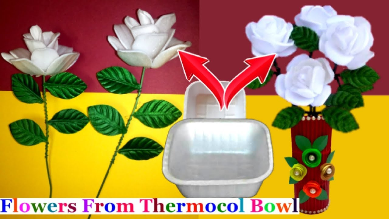 How To Make Flower From Waste Thermocol Bowl At Home Best Out Of