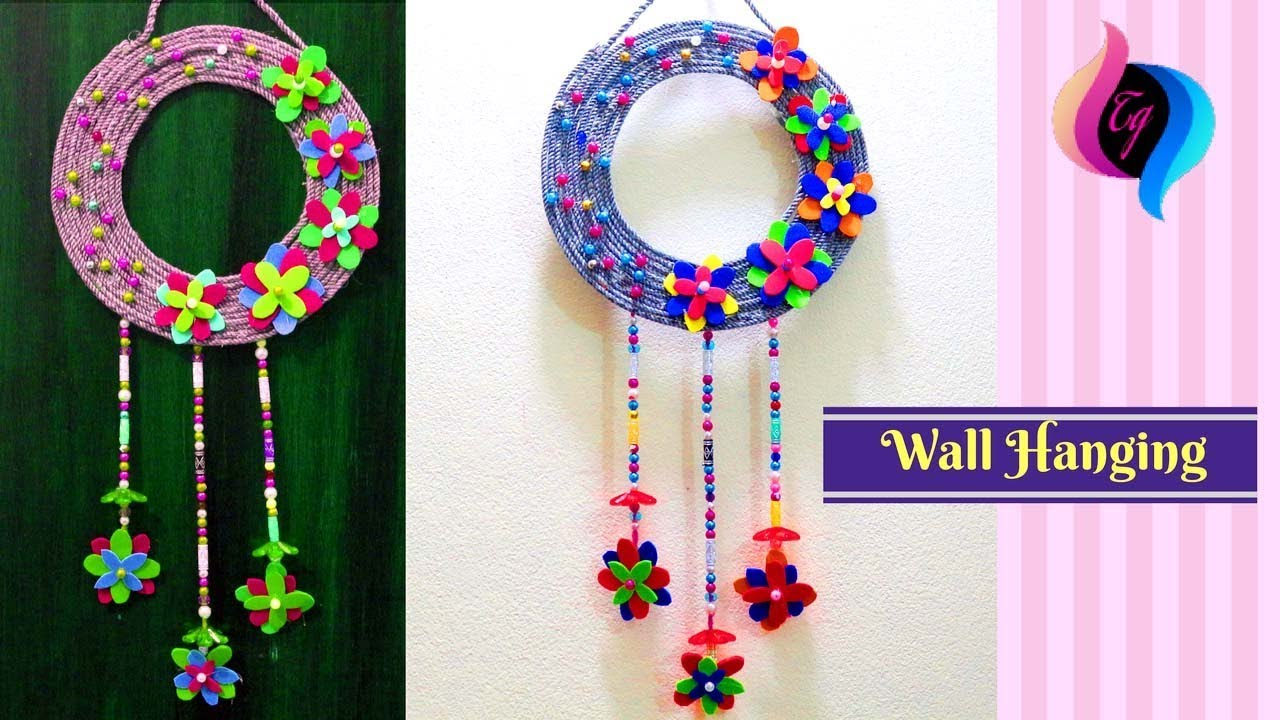 How to make wall hangings at home wall hanging with for Wall hanging from waste