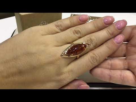 Кольцо 2969 из красного золота 585 пробы с янтарем