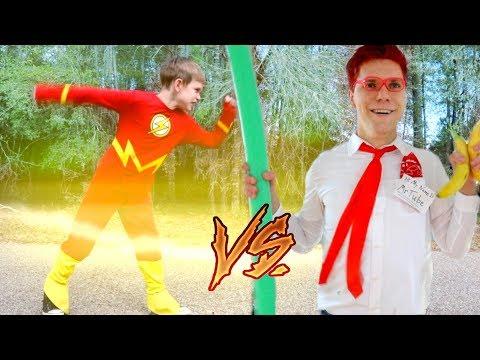 The Flash vs Batman Vs YouTube: Play it Safe SuperHeroKids! SHK Comic in Real Life