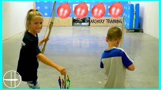 BALLOON popping WAR w B๐ws Arrows WHO WINS? Archery Training kids family fun adventure hopes vlogs