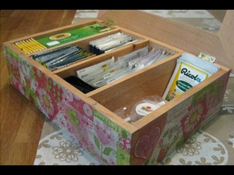 Scatola porta bustine the video tutorial tecnica - Scatole di legno decorate ...