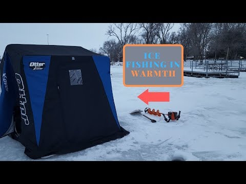 OTTER House Ice Fishing 1st TIME . (Blue Gill Invasion)