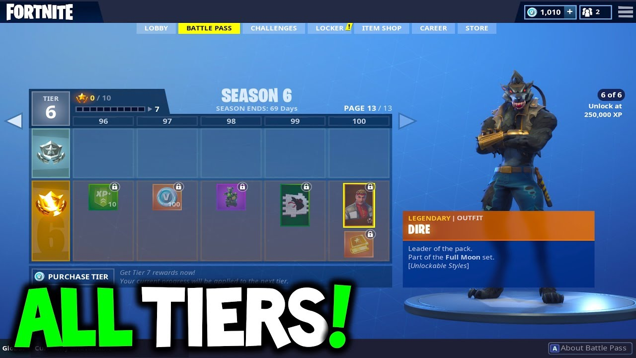 Buying The Season 6 Battle Pass All Season 6 Tiers Fortnite