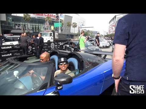 Lewis Hamilton Arrives at the Gumball 3000 Grid in Los Angeles