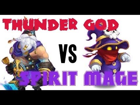 Castle Clash Thunder God VS Spirit Mage