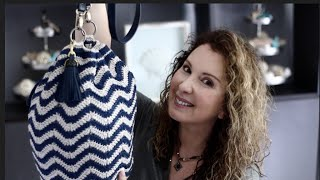 Stylish Crochet Chevron style Hand Bag