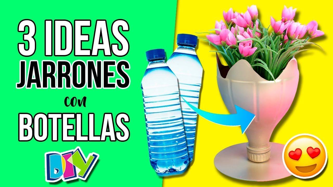 3 Jarrones O Maceteros Reciclando Botellas De Plastico Decora Tu