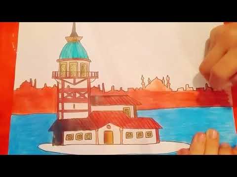 Çok kolay kız kulesi çizimi